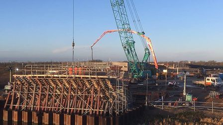 Ely bypass new progress photo:While steel is being placed on the centre V-pier (foreground), the wes
