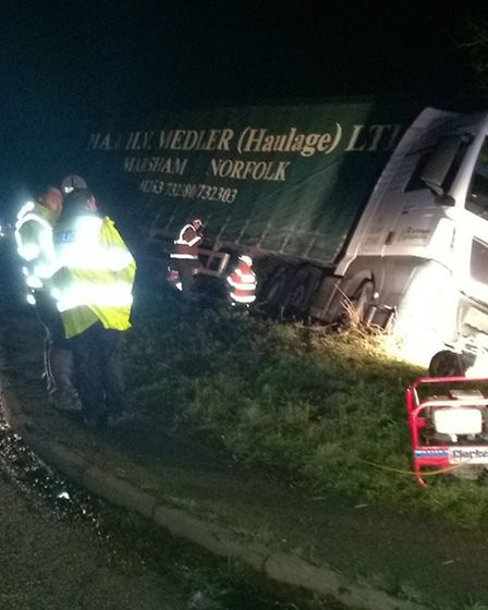 Dramatic scenes from the A142 south of Ely yesterday evening (23rd January 2018) when a heavy goods