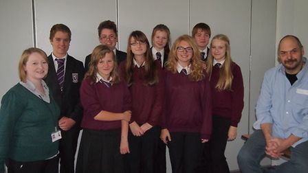 Richard Savage with Cromwell Community College students.