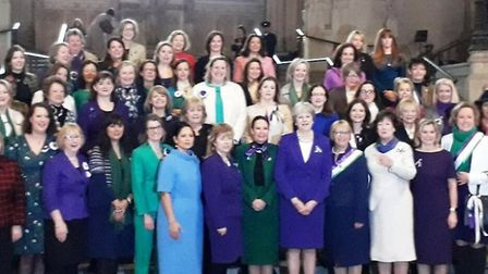 Lucy Frazer MP pictured with women in Parliament on February 6.