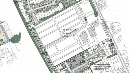 Drawing illustrates the scale of development proposed for Scotsdales at Fordham: 150 homes and 75-be
