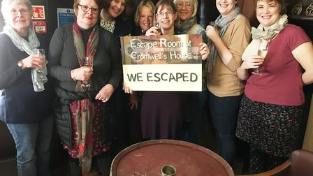 """""""Sarah's Hens"""" – celebrating their hen party in the new Escape Room at Oliver Cromwell House, Ely."""