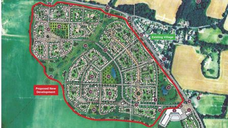 Kennett Action Group: Drawing showing the scale of the proposed development of 500 homes