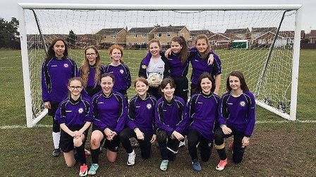 Neale-Wade Academy's Year 7 girls' 5-a-side team.