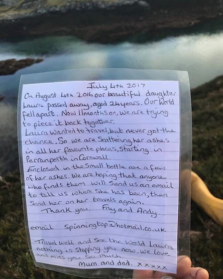 The message in the bottle. The bottle as it was found at Scalpay, Outer Hebrides. A message in a bot