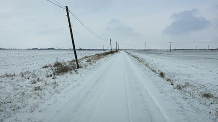 Snow covered roads in Chatteris from last month. Photo: Martyn Jolley.