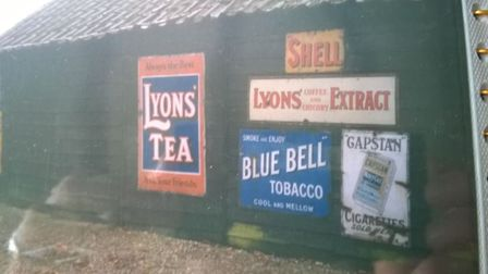 The full list of signs stolen from Fen Ditton: Barrett's Bird Seed: Blue A2 tin sign with yellow wri