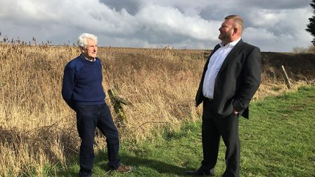 Phil Purse (right) met with Trevor Feary (left), planning consultant, at his land on Silt Road where