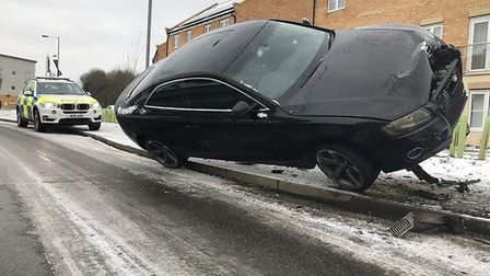 The crashed car. Picture: BCH Road Policing
