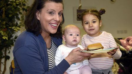 Mothers Day Breakfast at Emneth Nursery: Kate Griffith, Penelope Griffith (four months) and Esme Gri