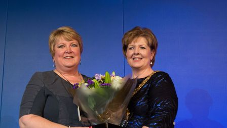Midwife wins pretigious award. Pictured is Gail is on the left and on the right Royal College of Mid
