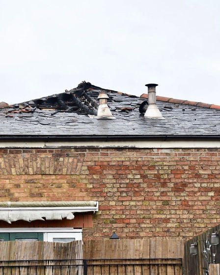 Morning after the night before: Damage showing the detached house in Victoria Road, Wisbech, followi