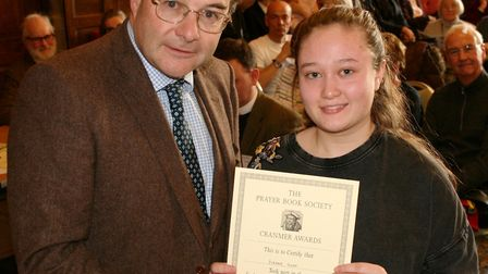 Eleoner Sloan from Wisbech Grammar School has been awarded with a special certificate after qualifyi