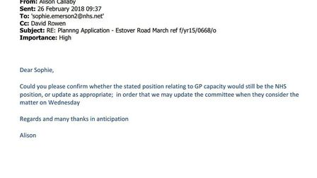 Emails that try to untangle the NHS requirement for a 106 agreement for 95 homes at Estover. Fenland