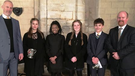 Some of the King's Ely's music festival finalists pictured at Ely Cathedral.