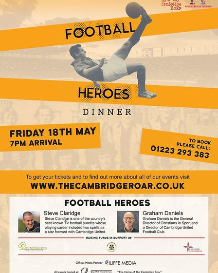 The Football Heroes Dinner on Friday May 18 will be the first event in The Cambridge Roar's calendar