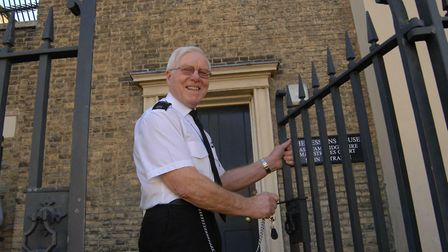 Ely Magistrates Court Closes.Brian Ward, Senior Security Officer, locks up for the final time.