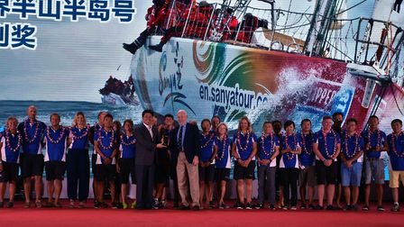 Prize giving ceremony of the Clipper Round the World Yacht Race stopover in Sanya, on the island of