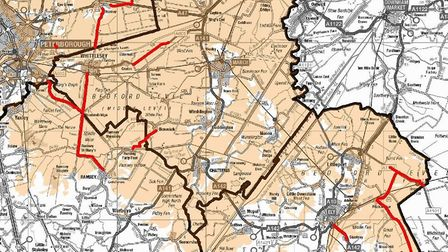 Sections of roads highlighted red are part of this scheme. In Cambridgeshire, these roads are Milden