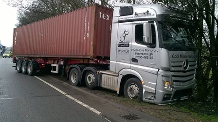 Delays were caused as a lorry left the road. Credit: @roadpoliceBCH