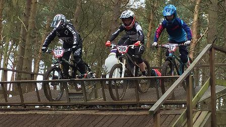 Ollie Sinden (on the right) at the start of the Four Cross race at Chicksands