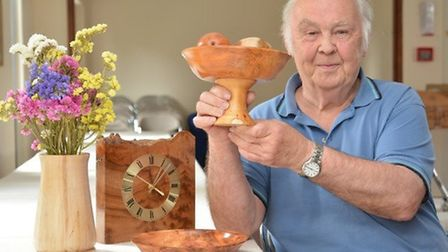 Ely Guild of Woodturners Art In Wood exhibition. Member David Ife with his tazzer.