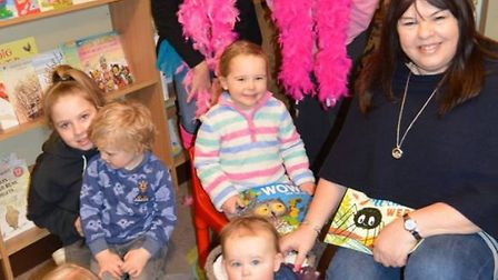 Children enjoying the Sponsored Storytelling' at Burrow's Bookshop in Ely. PHOTO: Mike Rouse.