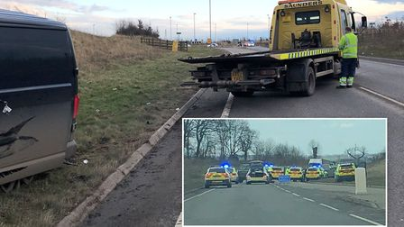 Police at the scene of an incident on the A1198 at Papworth. Photo: BCH Road Policing