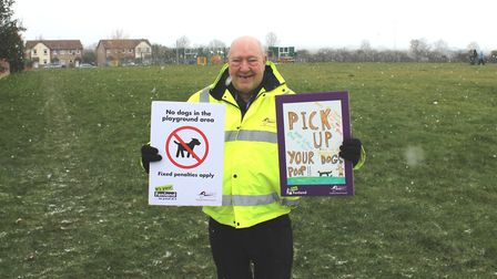 Councillor Peter Murphy leads the Tidy Feland pick up your dog poop campaign