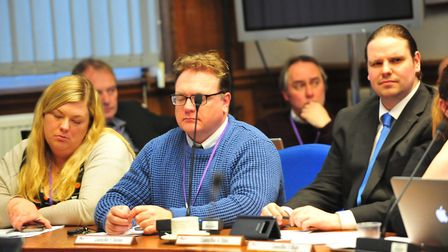 From left: Wisbech councillors Sam Hoy, Steve Tierney and Garry Tibbs at today's budget setting coun