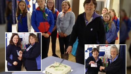 Ann Harris cutting her cake commending 40 years' service with the 3rd Ely Guides and, left, Helen Go