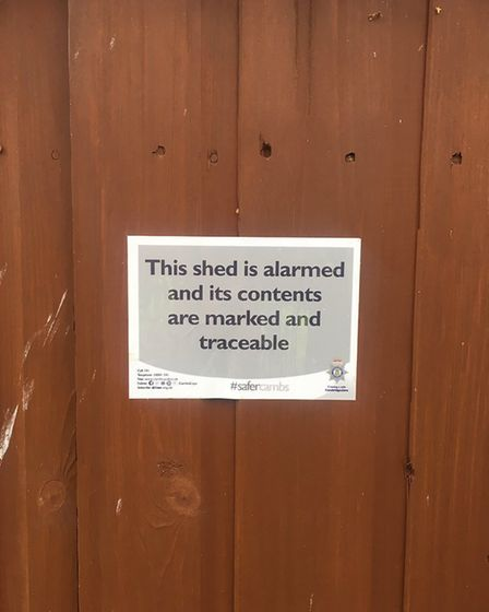 The shed sticker spoken about during 'Operation Oculus'.
