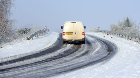 Tricky driving conditions with icy road and freezing fog is expected to hit the Fens. Photograph Sim