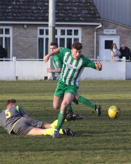 Action from Soham Town Rangers' goalless draw against Grays. Picture: ANDY BURFORD
