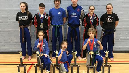 Successful Fenland BCKA fighters are, back row, left to right, Abi Daulton, Eddy Paddock, Mike Dunk,