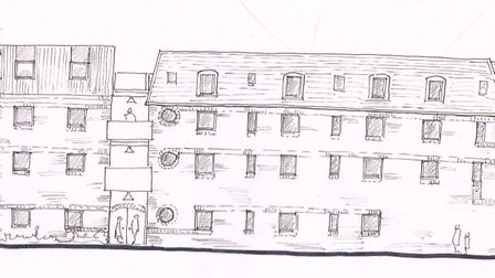 Illustrative plan produced by Brand Associates showing front and rear elevations of their proposals