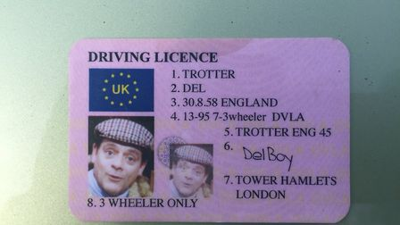 Driver presents police with Del Trotter licence. Picture: @NSPoliceDogs