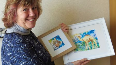 Sarah Ruff, chairman of the Ely Watercolour Workshop group, showing work inspired by her recent visi