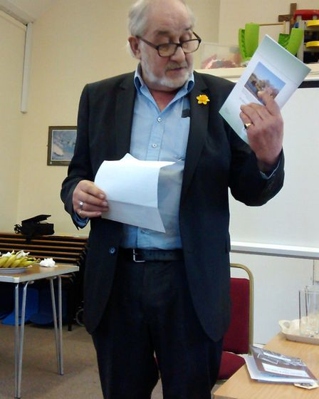 Deputy mayor of Ely, Councillor Mike Rouse, at the writers' day in Witchford.