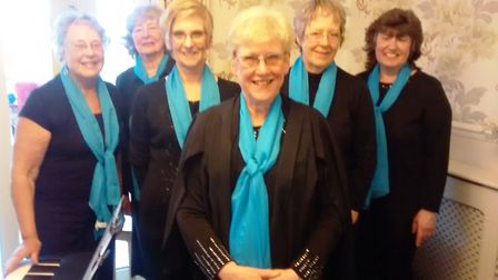 The Isle Singers, from left, Wendy Powell, Janet Hitch, Terry Robinson, Rosemary Westwell, Janet Bam
