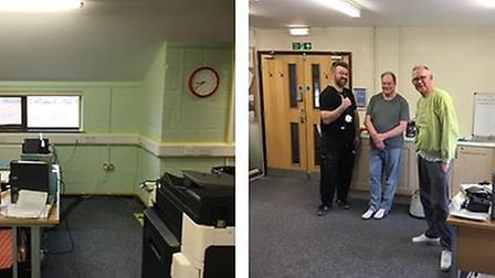 The office of Branching Out Littleport pictured before and after Ely Job Centre's makeover.