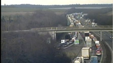 Delays of up to 90 minutes following collision on A14. Picture: @HighwaysEAST