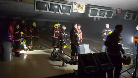 Strikes former bowling alley being used by Cambs fire for training. Photo: Cambs Fire and Rescue