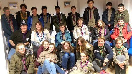 The two Explorer Scouts units during their visit to Ely police station.