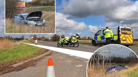 Accident on March bypass on the A141 (Gaul Road junction) - causes delays throughout the town. PHOT