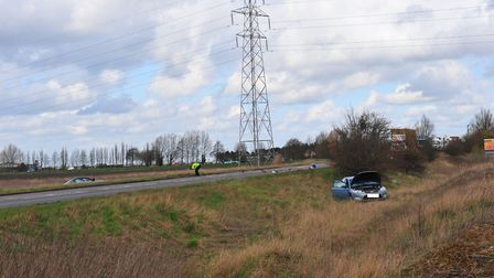 Accident on March bypass ? on the A141 (Gaul Road junction) - causes delays throughout the town. PHO