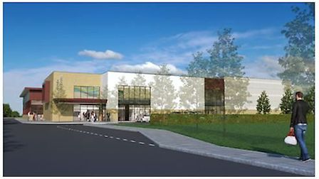 An artist's impression of East Cambridgeshire's new leisure centre The Hive which opens in May.