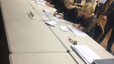 The votes being counted for the Little Downham by-election.