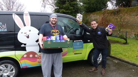 George Ennis won 117 eggs that were delivered by Simon Rowe, the KLFM breakfast host