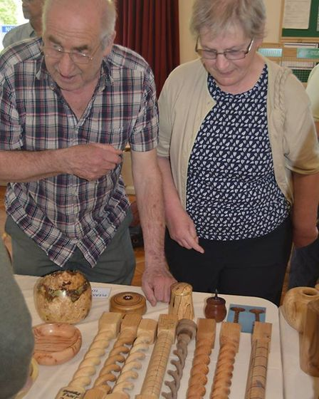 Mayor of Ely, Richard Hobbs, was a 'ahnds on' guest when he visited the Ely Guild of Woodturners at